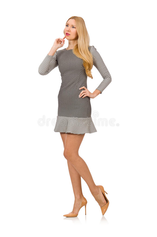 The blond girl in polka dot dress isolated on. Blond girl in polka dot dress isolated on white royalty free stock images