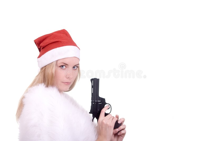 Download Blond Girl In Santa Hat With Gun Stock Image - Image: 7234405