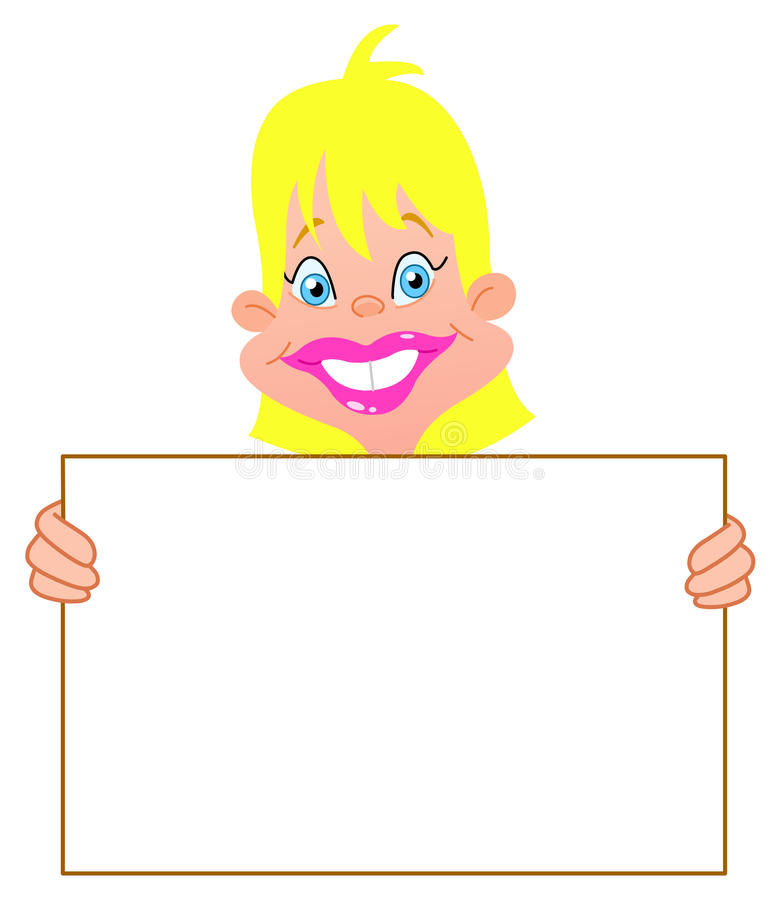 Download Blond girl with sign stock vector. Illustration of frame - 26570894