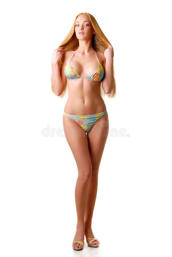 Blond girl in swimsuit stock photography