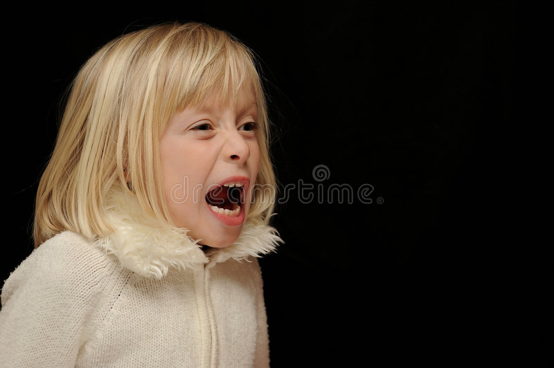 Blond girl yelling stock images