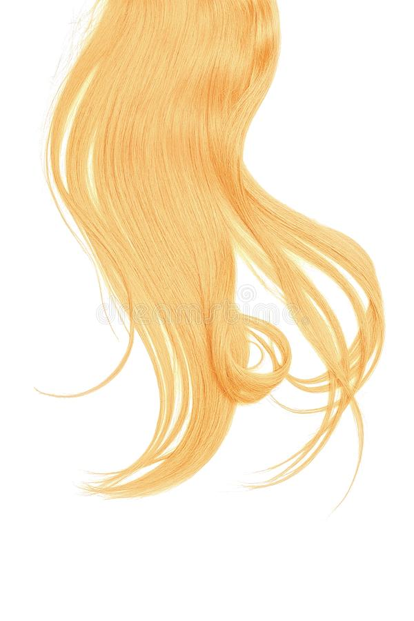 Blond gold hair isolated on white background. Long disheveled ponytail. Blond gold hair isolated on white background. Long ponytail royalty free stock photo