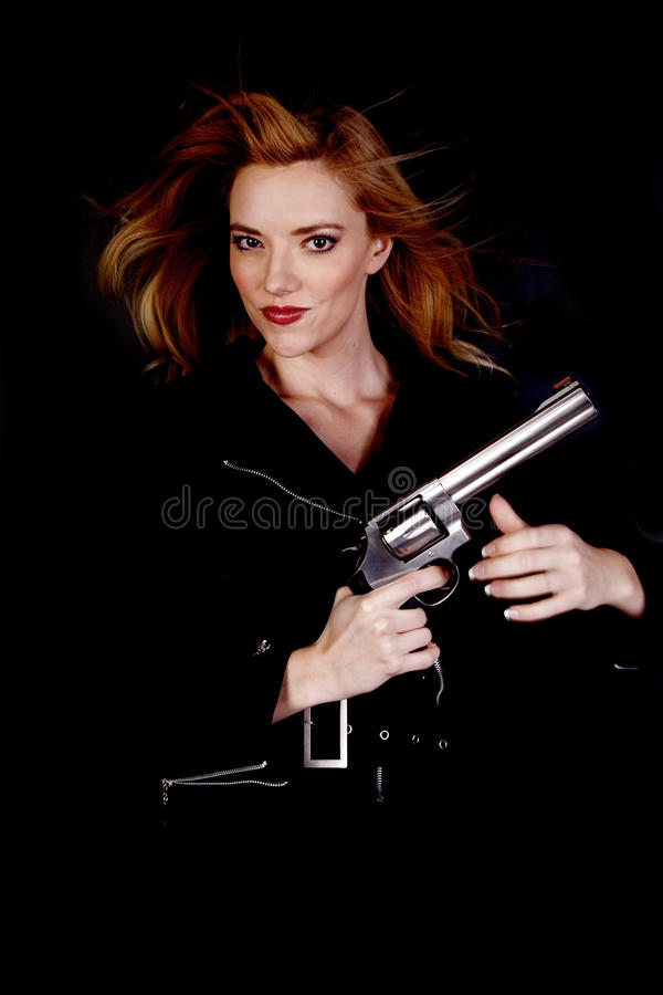 Download Blond with gun up stock image. Image of model, glamour - 16693683