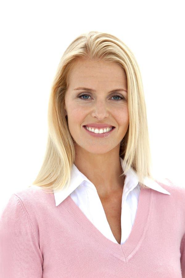 blond hårståendekvinna royaltyfria foton