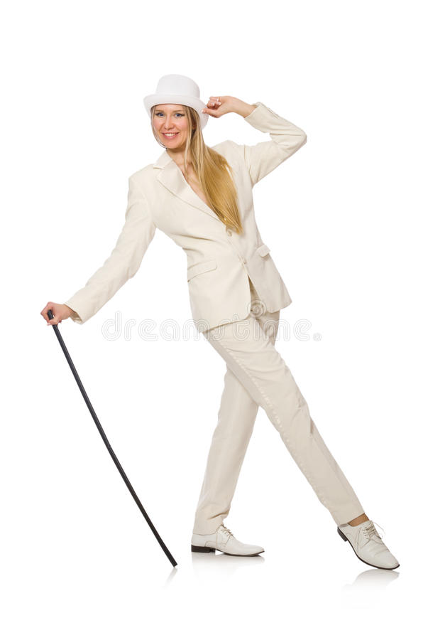 Free Blond Hair Girl With Walking Stick Isolated On Stock Image - 59925491