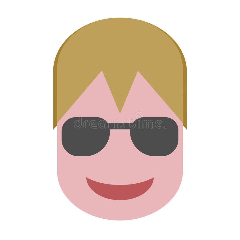 Blond Hair Guy with Sun Glasses Flat Vector Design stock photo