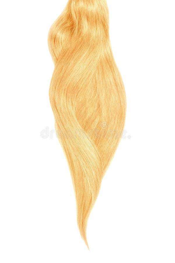 Blond hair, isolated on white background. Long beautiful ponytail. Natural healthy hair isolated on white background. Detailed clipart for your collages and stock images