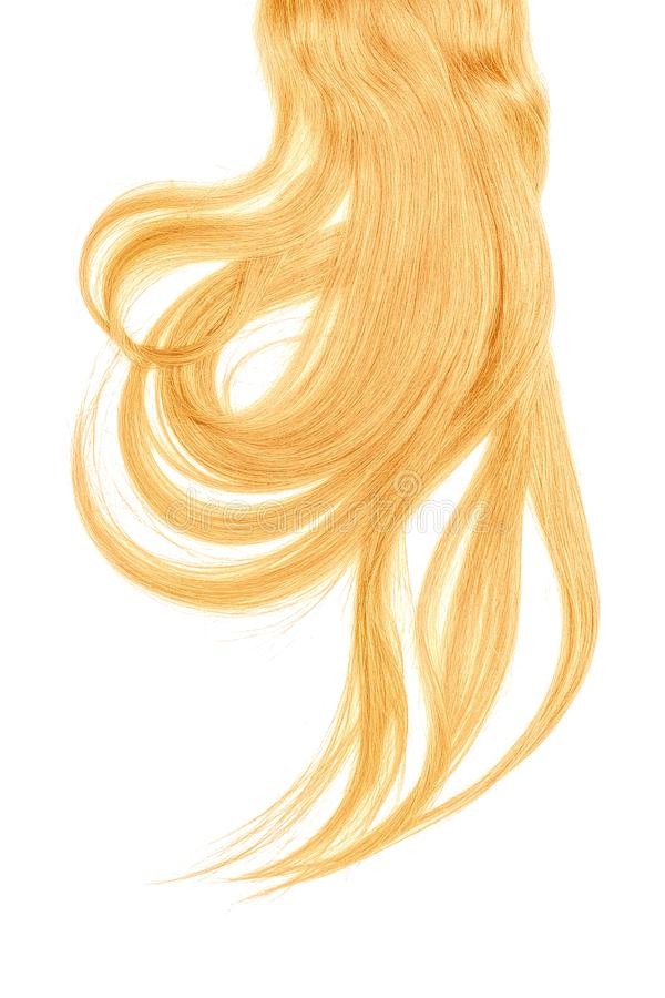 Blond hair, isolated on white background. Long and disheveled ponytail. Natural healthy hair isolated on white background. Detailed clipart for your collages and stock photo
