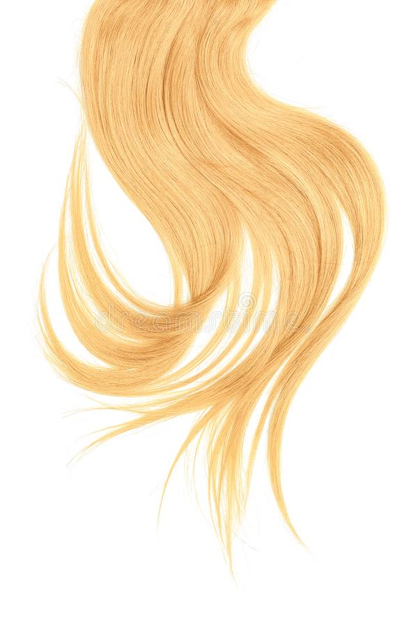 Blond hair, isolated on white background. Long and disheveled ponytail. Natural healthy hair isolated on white background. Detailed clipart for your collages and royalty free stock image