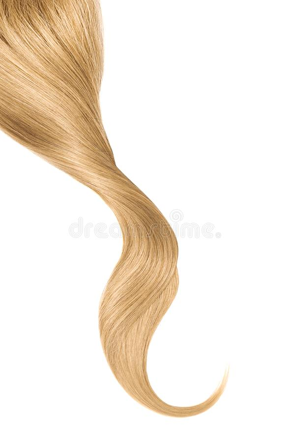 Blond hair, isolated on white background. Long wavy ponytail. Natural healthy hair isolated on white background. Detailed clipart for your collages and stock photos