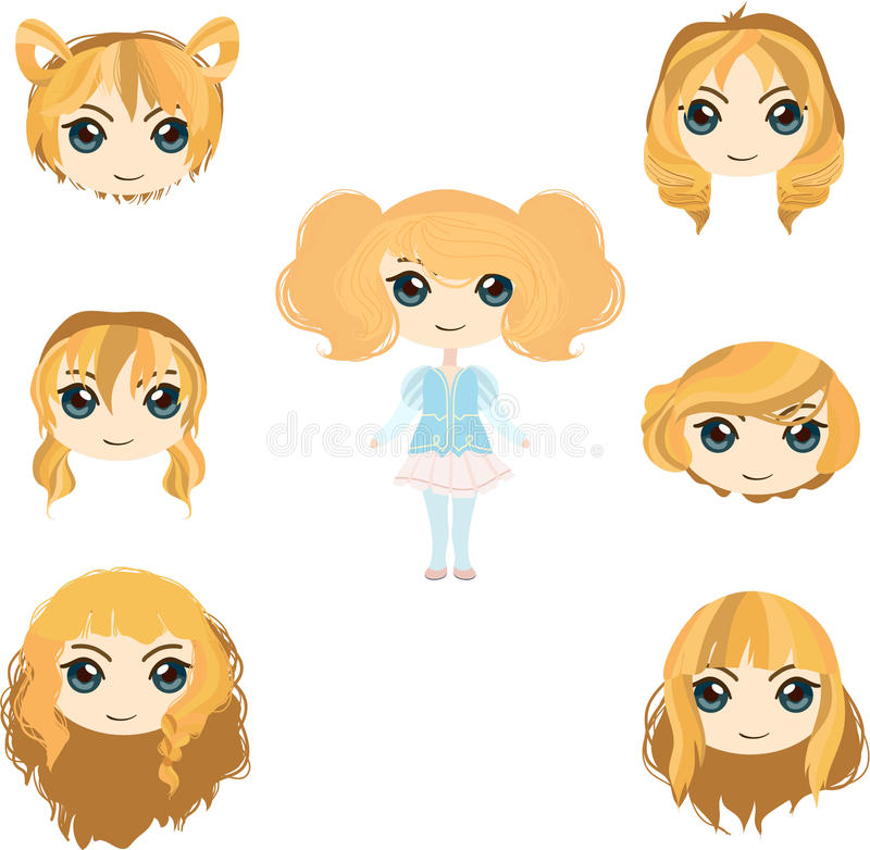 Blond hair set royalty free stock photography