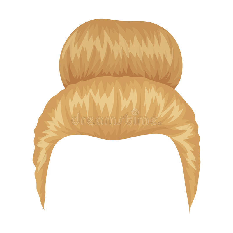Blond hair with a shingle.Back hairstyle single icon in cartoon style vector symbol stock illustration web. Blond hair with a shingle.Back hairstyle single icon stock illustration