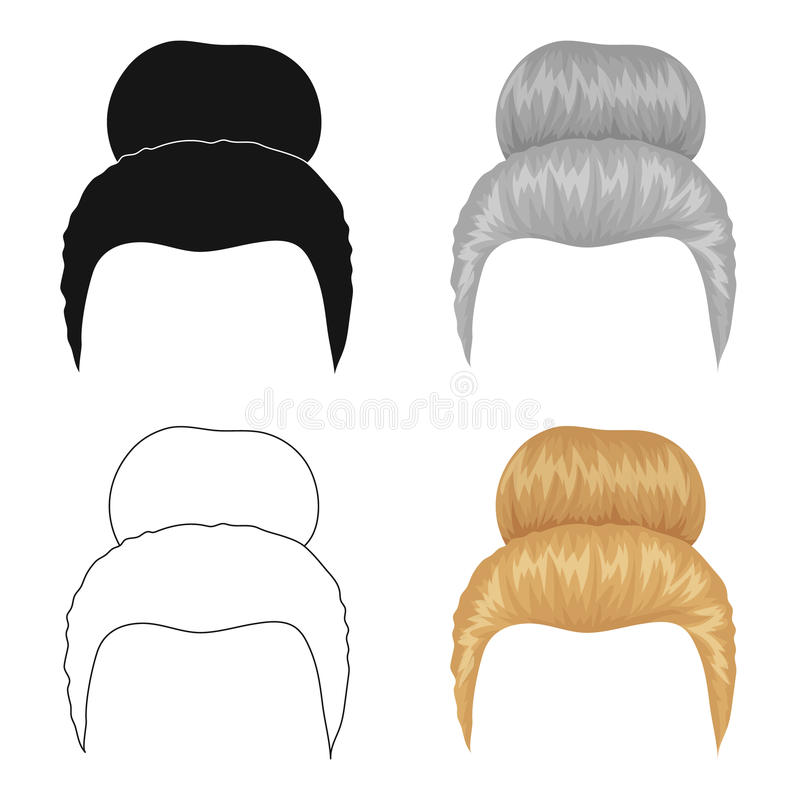 Blond hair with a shingle.Back hairstyle single icon in cartoon style vector symbol stock illustration web. Blond hair with a shingle.Back hairstyle single icon vector illustration