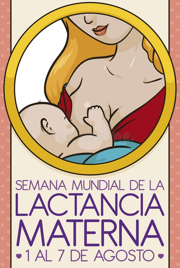 Blond Haired Mother with her Baby Celebrating World Breastfeeding Week, Vector Illustration. Round portrait with a tender scene: a latin blond haired mom vector illustration