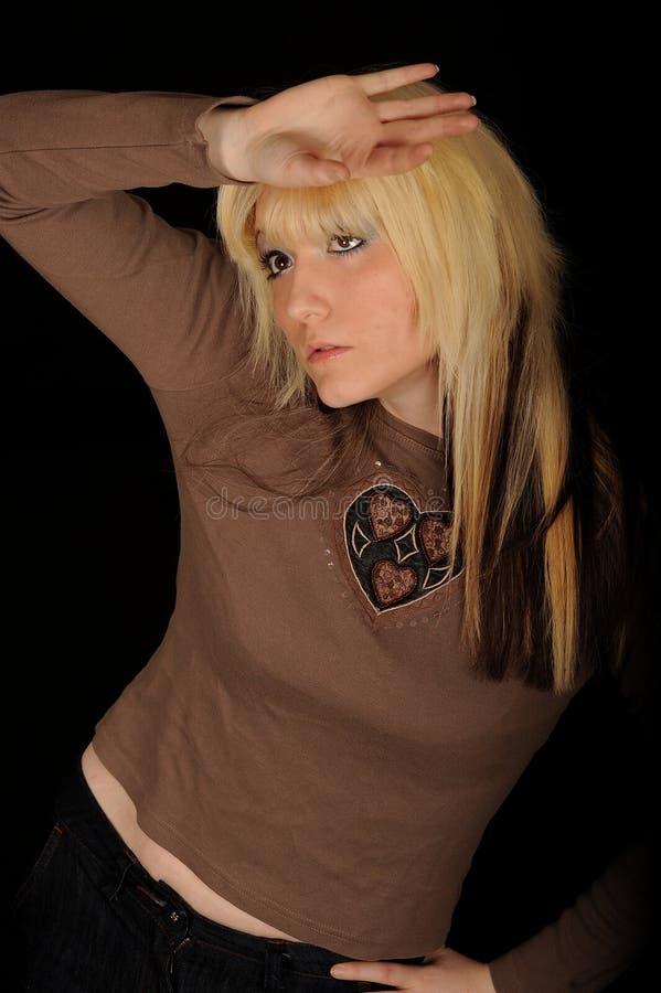 blond haired nätt kvinna fotografering för bildbyråer