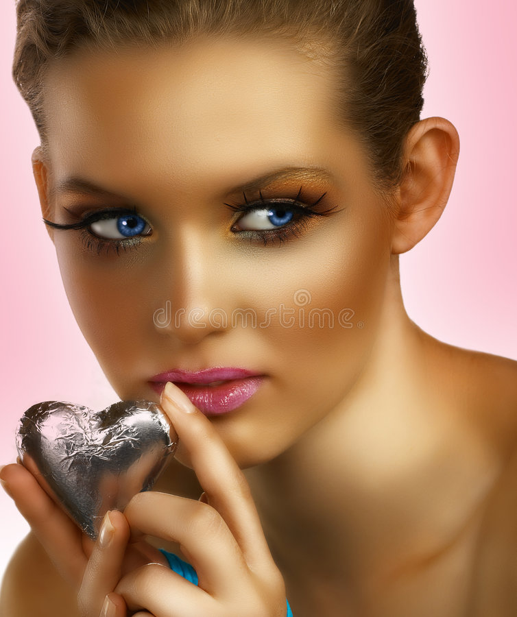 Blond with heart stock photo