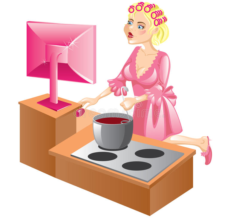 Housewife At The Computer Stock Photo