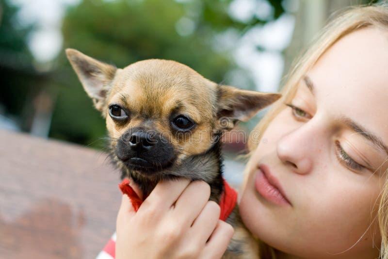 Blond hund för flickaholdinghusdjur arkivbild