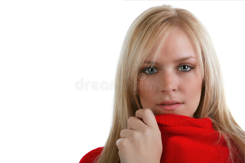 Blond with intense stare stock photo