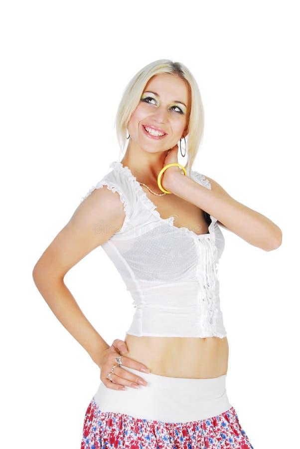blond isolerad modell för beauti royaltyfri foto