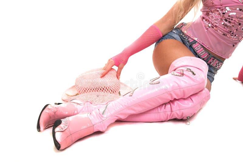 blond klädd pink arkivfoton