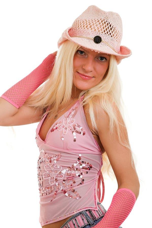 blond klädd pink arkivbilder