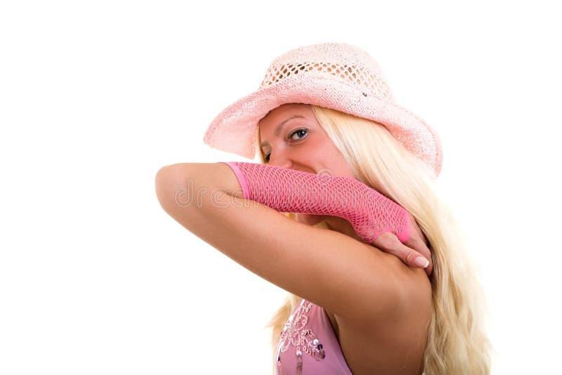 blond klädd pink royaltyfri foto