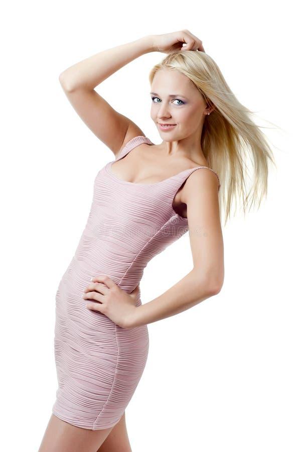 blond klänningflicka royaltyfri bild
