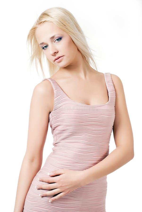 blond klänningflicka royaltyfri fotografi