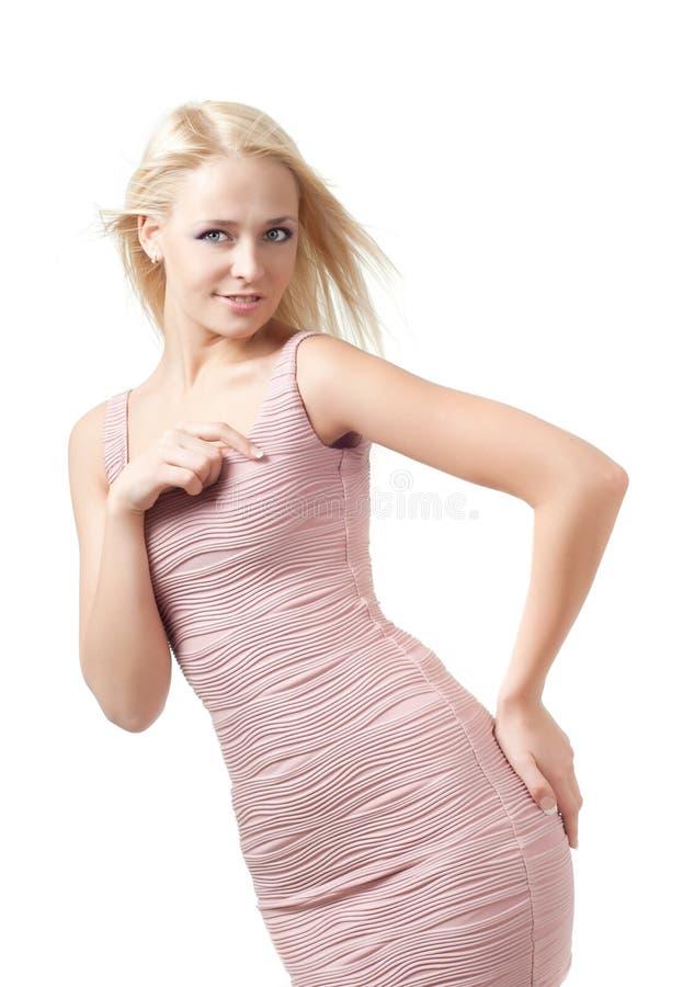 blond klänningflicka royaltyfria bilder