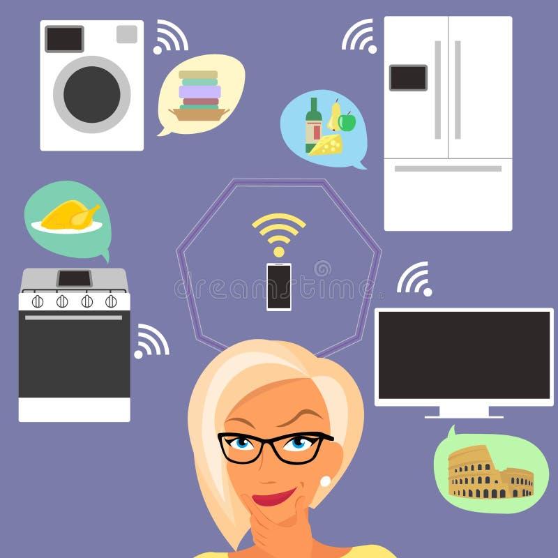 Blond kobieta myśleć o mądrze gadżetach w domu ilustracji