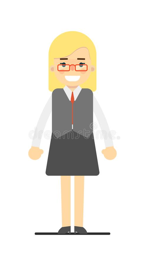 Blond kontorssekreterare i affärsdräkt vektor illustrationer
