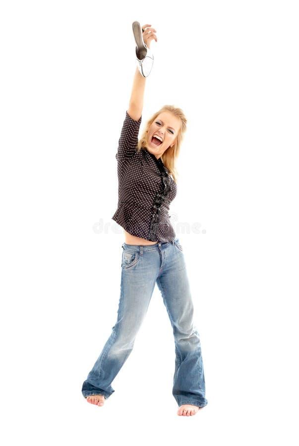 blond krzyczał white buta fotografia stock