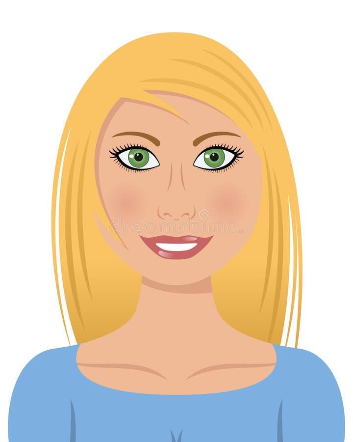 Blond kvinna med gröna ögon stock illustrationer