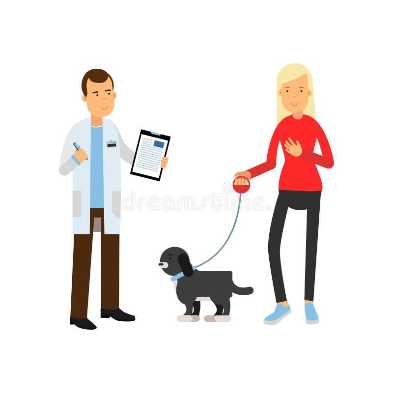 Blond kvinna på den veterinär- doktorn med hennes för tecknad filmvektor för älsklings- hund färgrika illustration stock illustrationer