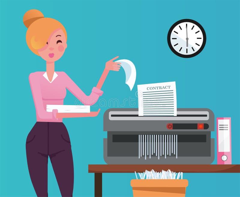 Blond kvinnaanställd som strimlar högen av pappers- dokument i liten tabellshedder Det strimlade papperet skriver in återanvänder royaltyfri illustrationer