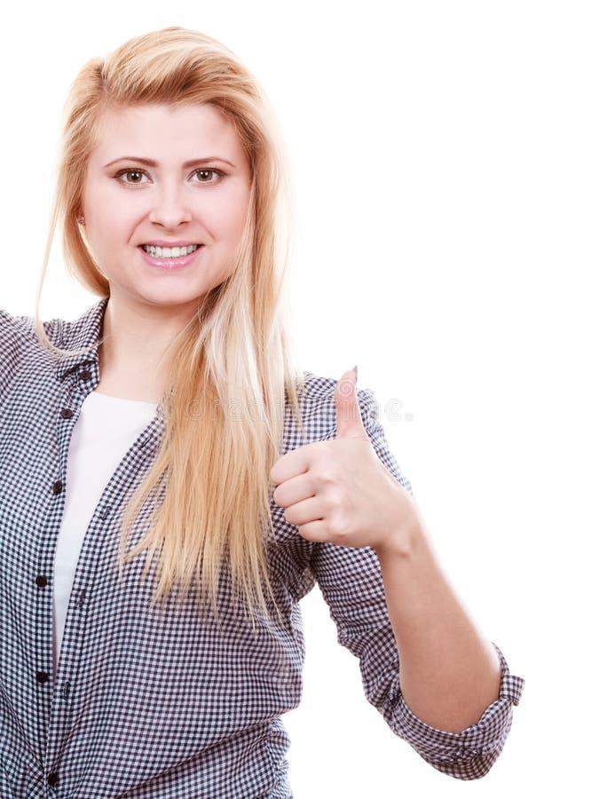 Download Blond Kvinnavisningtumme Upp Fotografering för Bildbyråer - Bild av positivt, barn: 106825229