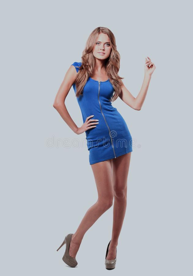 Free Blond Lady In Blue Dress Isolated On White. Stock Image - 108545131