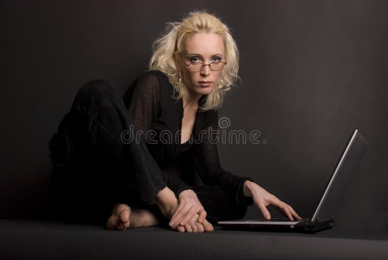 Blond & Laptop stock photos