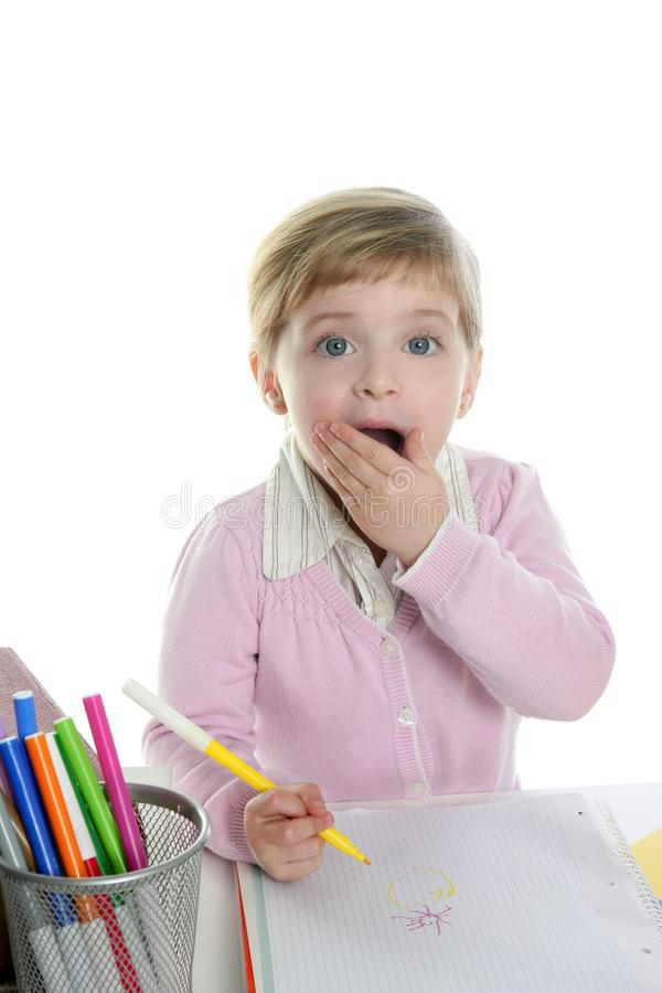 Download Blond Little Surprised Gesture Student Girl Stock Photo - Image: 12750856
