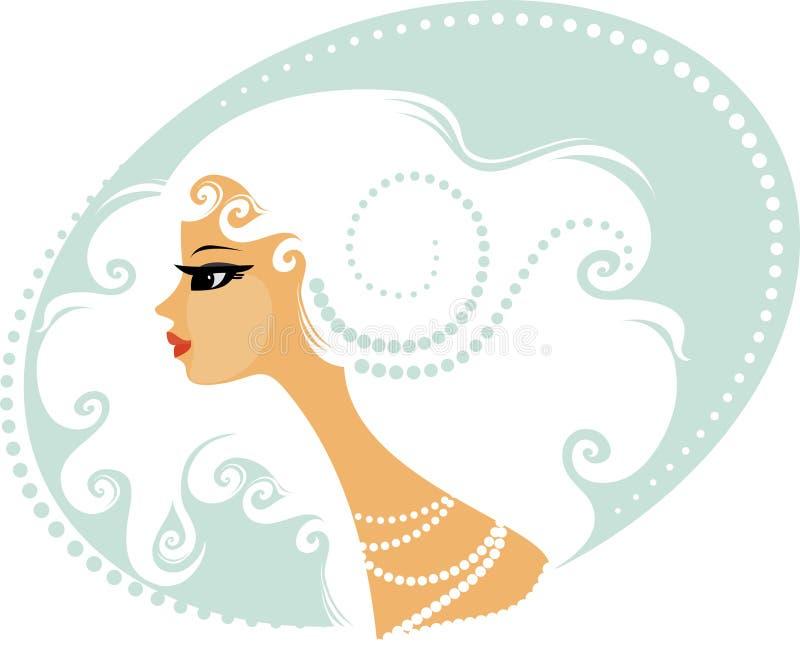 blond lockig hårkvinna stock illustrationer