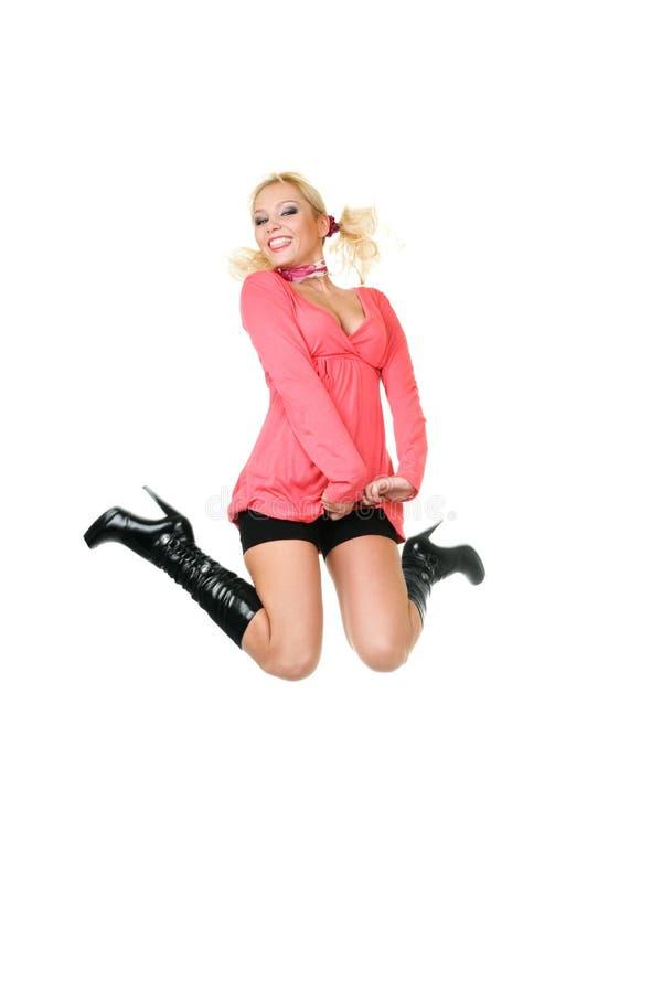 blond lyckabanhoppningkvinna fotografering för bildbyråer