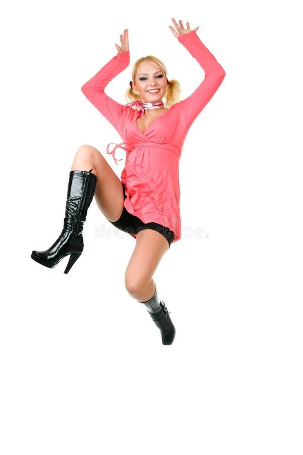 blond lyckabanhoppningkvinna royaltyfri fotografi