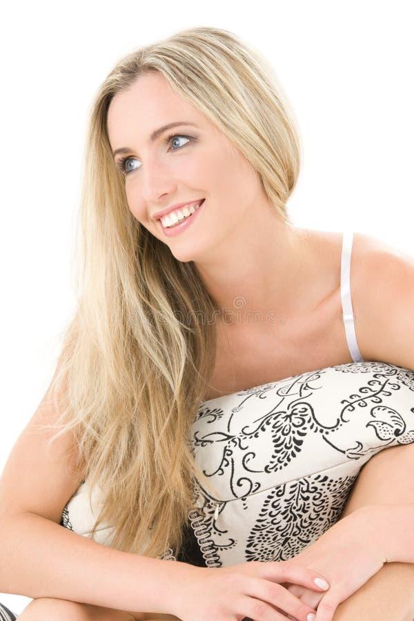 blond lycklig kudde arkivfoto