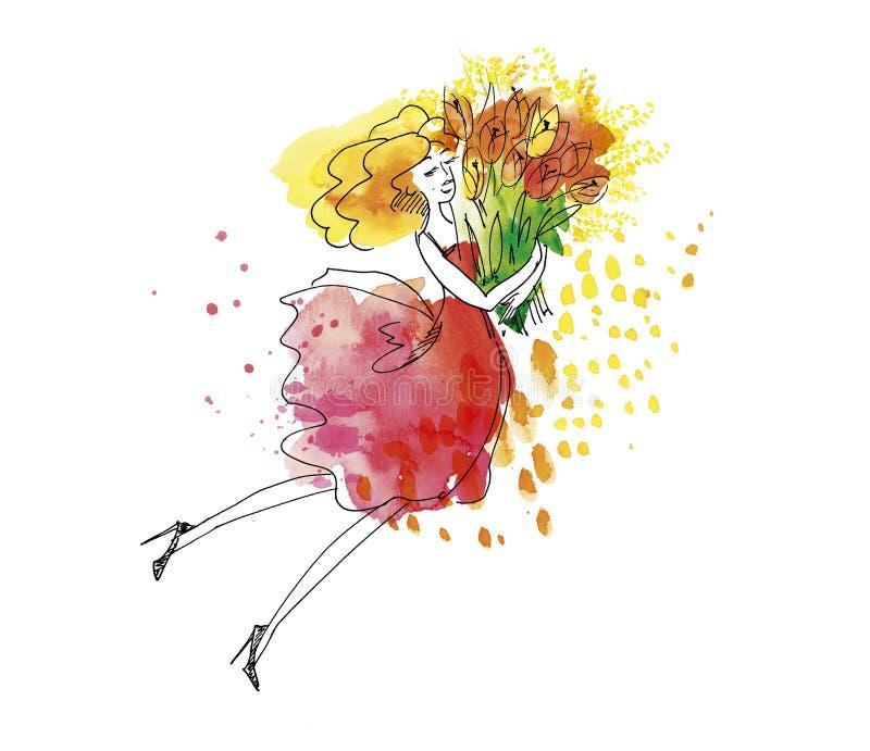 Blond młoda kobieta z dużą wiązką wiosna kwitnie ilustracji