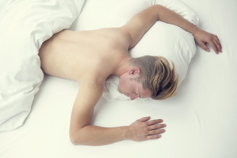 Squirting man and woman sleeping naked and
