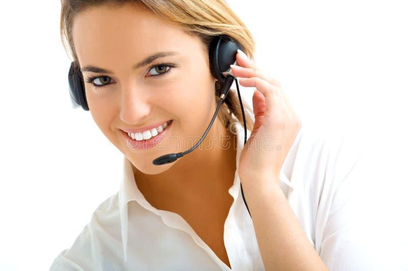 Blond meisje in call centre royalty-vrije stock foto