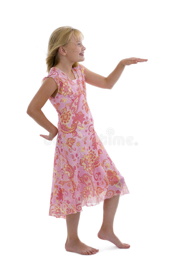 Blond meisje dat het grappige dansen doet royalty-vrije stock afbeelding