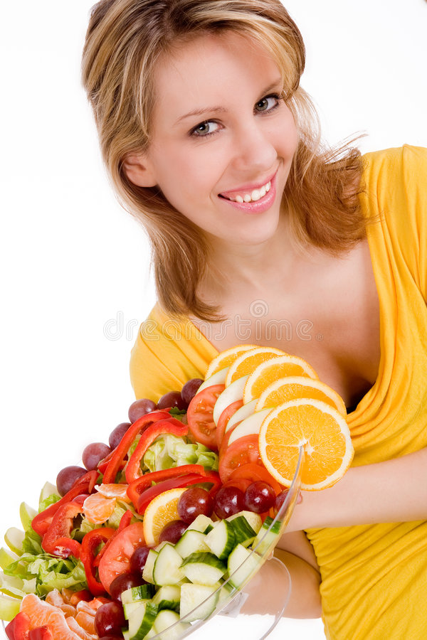 Blond meisje en haar salade royalty-vrije stock afbeelding