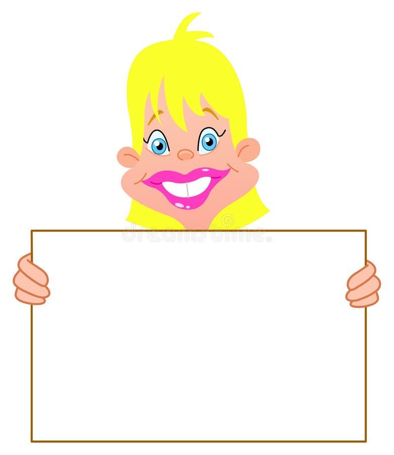 Blond Meisje Met Teken Stock Afbeeldingen
